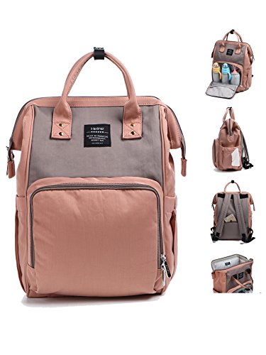 Eco Life - Wide Open Large Capacity Baby Diaper Bag Backpack for Mom & Dad with An Independent Safety Pocket, Changing Pad & Insulated Pockets - Pink & Grey (Bag Diaper Eco)