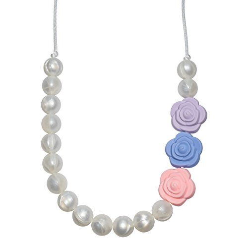 Sensory Chew Necklace for Girls - Pearls with Roses Chewelry (Multi-Color)