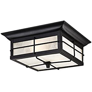 Westinghouse 6204800 Orwell 2 Light Outdoor Flush Mount Fixture, Textured  Black