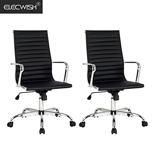 Elecwish, 2PCS Adjustable Office Executive Chair, High Back Tall Ribbed, Pu Leather, Wheels Arm Rest Computer, Chrome Base, Home Furniture, Conference Room Reception (Dual Black)
