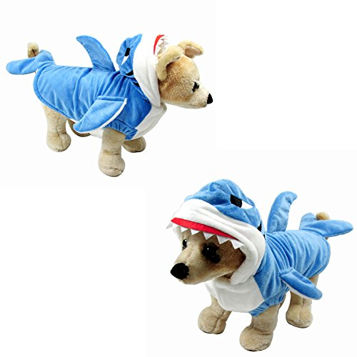Accmor Dog Shark Costume, Stereo Shark Shape Dog Costume Pet Hoodie Coat for Small Dogs, Cute Dog Dress Up Costume for dogs,Soft and Comfortable Funny (Dress Up Dogs)