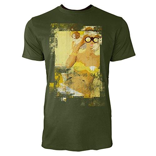 SINUS ART® The Girl in Yellow Herren T-Shirts Armee grünes Cooles Fun Shirt mit tollen Aufdruck