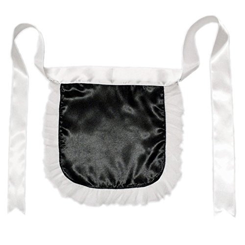 [Black Nurse or Maid Apron with White Lace Ruffles ~ Halloween Costume Accessory] (Nurse Costumes For Teens)