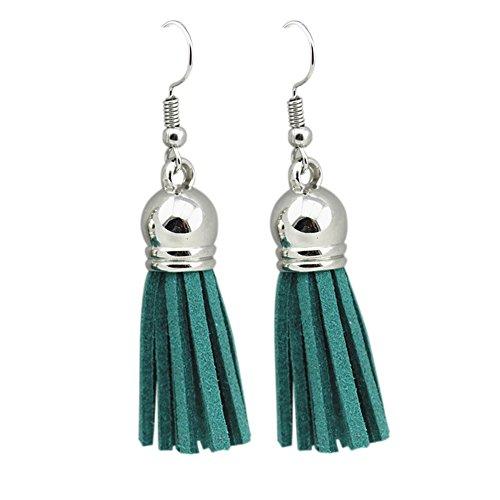 Tassel Drop Earrings Bohemian Chandelier Dangle Beaded Teardrop Earrings for Women Fish Hook?11 colors (Green) Green Fish Earring
