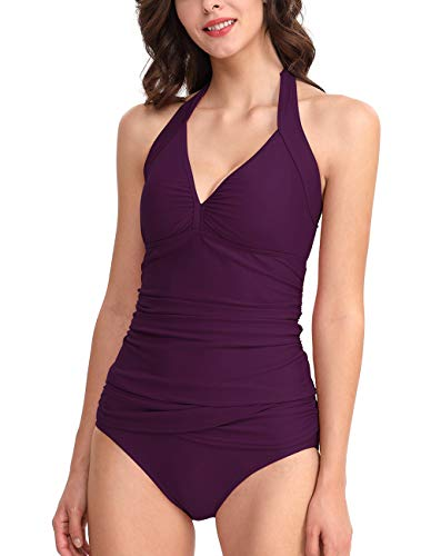 Women's Halter Tankini Top Sleeveless Plunge Neck Solid Color Draped Ruched Push Up Swimsuits Sets Purple