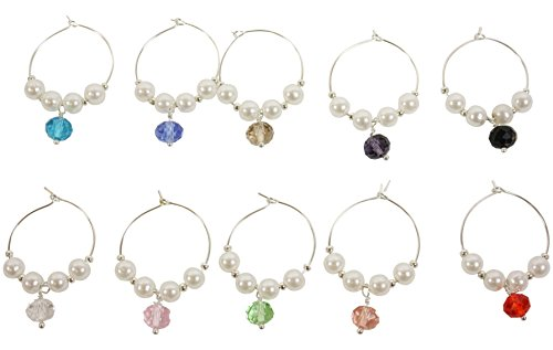 Potomac Banks Acrylic Wine Glass Charms (Comes with Free How to Live Stress Free Ebook) (10 Faux Pearl)