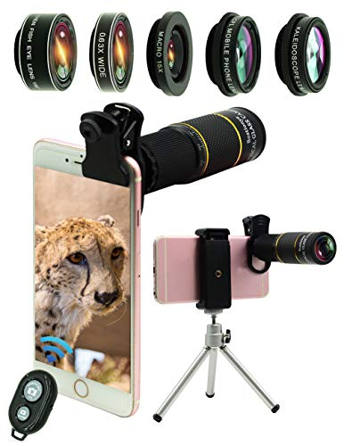 Phone Camera Lens Kit 10 in 1 for iPhone Samsung Pixel Android, 22X Telephoto Lens, 0.63Wide Angle Lens&15X Macro Lens, 198° Fisheye Lens,Kaleidoscopes, CPL,Shutter Remote+Tripod,for Most Smartphone