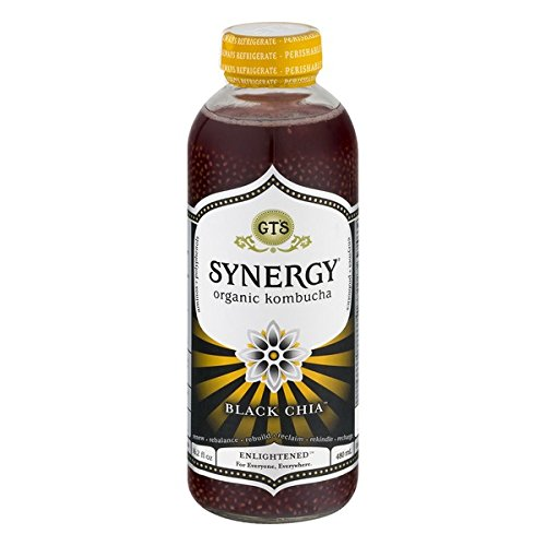 GT'S ENLIGHTENED KOMBUCHA Synergy Organic Kombucha Tea, Black Chia, 16.2 Ounce (Pack of 12) (Drink Chia With Synergy)