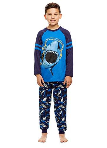 Boys 2 Piece Pajama Set | Long Sleeve Shark Print Top & Jogger PJ Pants - S