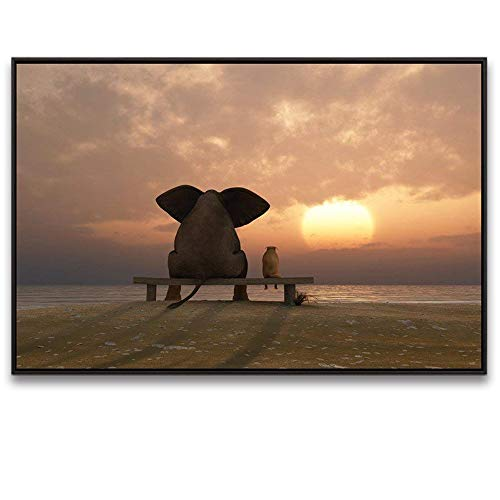 Visual Art Decor Modern Animals Canvas Prints Wall Art Elephant and Dog Picture Gallery Wrap Home Office Wall Decoration (Sunset Sea, 28''x40''Floater Frame) by Visual Art