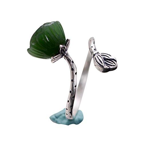 Jade Angel Sterling 925 Silver Sculptured Lotus Flower Natural Jade Gemstone Ring - Jade Flower Lotus