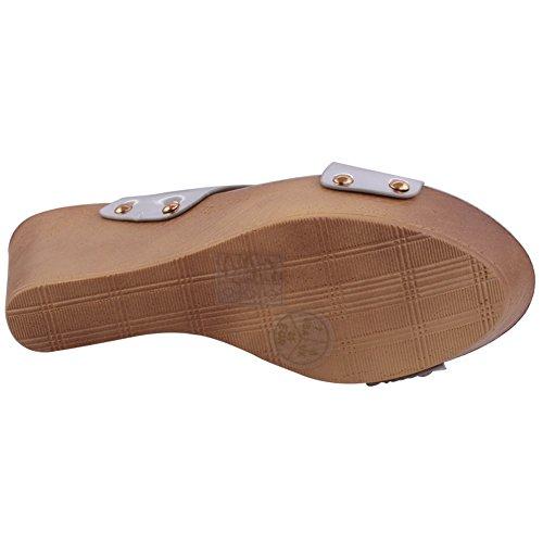 Unze Las mujeres 'Simpson' Crossover parte metálica se reúnen Carnaval sandalias de cuña zapatillas UK tamaño 3-8 Plateado