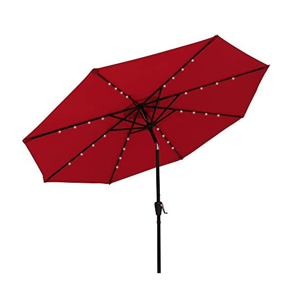 PATIORAMA 9 Feet Outdoor Market Umbrella Solar Powered 32 LED Lights Push Button Tilt Crank, Red - Day and Night Use: No electricity or power cord needed, 32 LED lights can offer you a cozy and beautiful evening Sturdy and Durable Construction: Built with 8 steel ribs, rust free and powder coated detachable aluminum pole for durability and extra storage convenience 250g Thick Vented Polyester Fabric: Made of grade 4 min. at 200 hours UV-resistant and water proof fabric, air vented at the top, cool and can withstand sudden gust - shades-parasols, patio-furniture, patio - 41iab3FP4RL. SS570  -