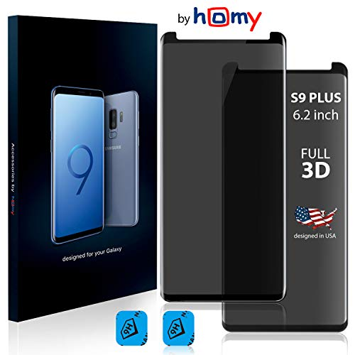 Homy Compatible Privacy UHD Screen Protector Samsung Galaxy S9 Plus 6.2 inch [2-Pack] - Free Camera Lens Cover. Anti Spy Filter Made 9H Curved 3D High Clarity Full Cover Japanese Tempered Glass