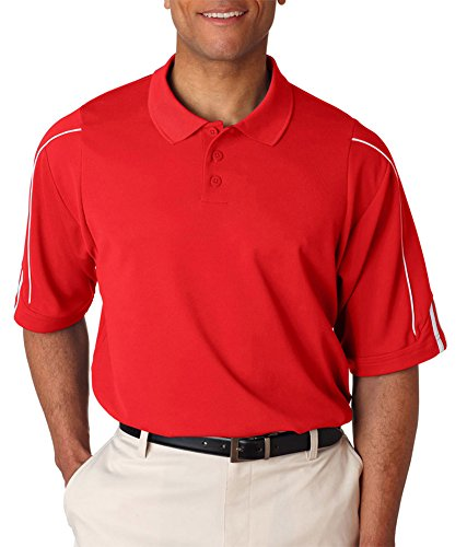 - Adidas Men's 3-Stripes Contrast Piping Polo Shirt, University Red/ White, Large