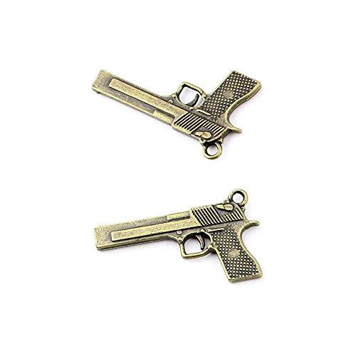 Price per 30 Pieces Antique Bronze Jewelry Making Charms Findings Supplies 68057 Pistol Gun Craft Ancient Repair Lots DIY Pendant Vintage