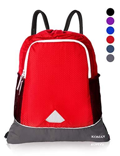 Koman Drawstring Backpack Bag,Sport Gym Bag For Men and Women,School Sackpack With Shoes Compartmt & Wet Pocket For Men ,Woenmen,Kids (Red)