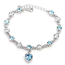 Lopkey Color Retention Gold Plated Jewelry Crystal Jewelry Bracelet Lake Blue