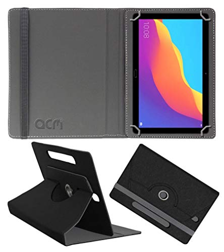 Acm Designer Rotating Leather Flip Case Compatible with Honor Pad 5 10.1 Ags2-Al00Hn Cover Stand Black