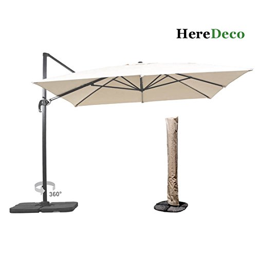 Unibest Luxury Outdoor 10ft x 10ft Square Hanging Roma Offset Umbrella 360 Rotation Patio Sun Shade Cantilever Crank Canopy with Umbrella Cover (Roma Cream)