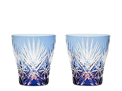 Amazon com | Edo Kiriko glass Japanese Sake cup Kenbisi star motifs
