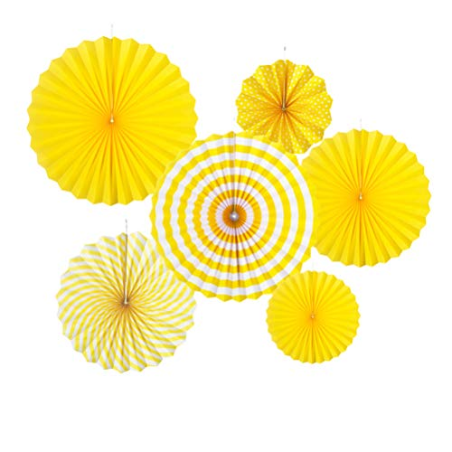 MOWO Yellow Paper Fans Hanging Decoration (yellow,white, 6pc)