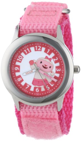 "Disney Kids' W000913 ""Doc McStuffins Time Teacher"" Stainless Steel Watch with Pink Nylon Band"