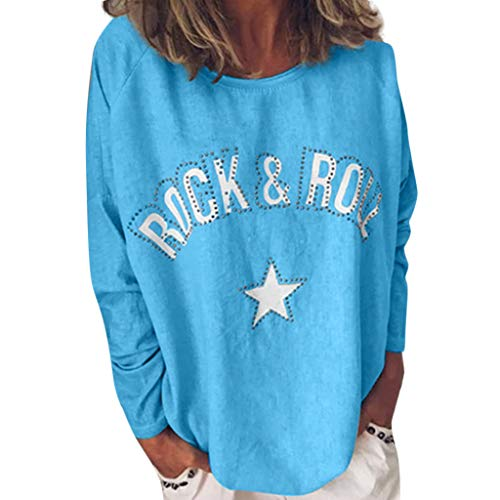 ANJUNIE Women's Round Neck T-Shirts Long Sleeve Tee Shirts Ladies Printed Blouses Comfy(Sky Blue,XL)