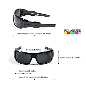 Sunclassy Mens Dark Polarized Sunglasses Anti Glare Driving Wrap Around Driving Square Frame Motorcycle Block UVA UVB UVC Rays Comfortable Durable Construction Outdoor Sports Eyewear UV (Black, Black)