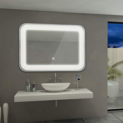 Tangkula LED Mirror Wall Mount Lighted Mirror, Bathroom Bedroom Home Furniture Illuminated with Touch Button, Make Up Wall Mirror 27.5 X 25 Light Bath Rectangle Vanity Mirror ()