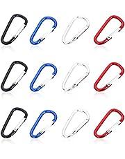 sinzau Karabijnhaak, aluminium mini-sleutelhanger voor kamperen, vissen, wandelen of reizen, 12 stuks, 4 kleuren
