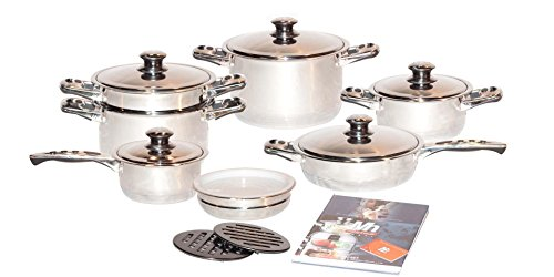 304 Stainless Steel 5 Ply - Millerhaus SAS17-H 17-Piece T304 Stainless Steel Cookware Set with 7-Ply Bottom and Induction Compatible