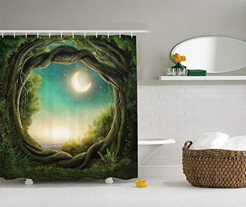Ambesonne Kids Shower Curtain Bathroom Decor by, Trees with Fairy in Artistic Artwork Girls Boys and Family Enchanted Forest Full Moon Fabric Accessories, 69W X 70L Inches, Teal Cream