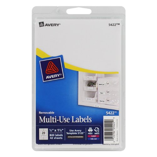AVES828 - Removable Handwritten Rectangular ID Labels, 1/2x1-3/4, White, 840/Pack AVES828