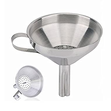 Joyfor Stainless Steel Funnel with Removable Detachable Strainer/Filter for Cooking,Flask Funnels for Essential Oils & Flask-Filling