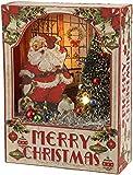 "Raz Imports Merry Christmas Vintage Santa and Tree 8"" Light Up Shadow Box"