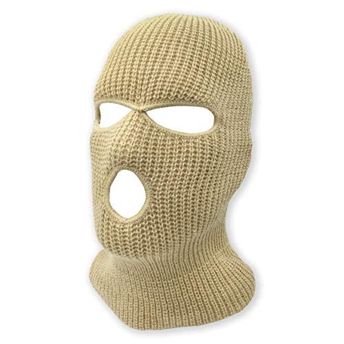 - 3 Hole Beanie Face Mask Ski - Warm Double Thermal Knitted - Men and Women (Khaki)