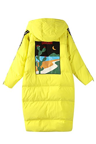 Elf Sack Women's Hooded Down Jacket Long Winter Coats With Raglan Sleeve Yellow X-Large by Elf Sack (Image #3)