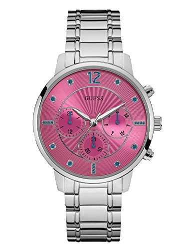 GUESS-Womens-Silver-Tone-and-Pink-Analog-Watch