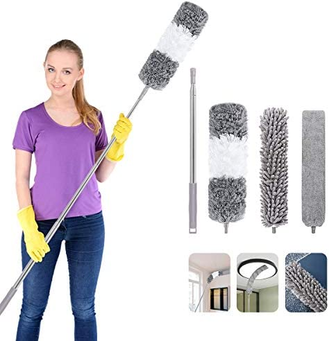 COPACHI 4PCS Gap Dust Brush,Microfiber Duster Kit with Extension Pole(30-100 inches),Removable and Washable Fiber Brush Hand Dust Collector for Under Furniture Couch,Gap, Blind, Home,Bedroom,Kitchen