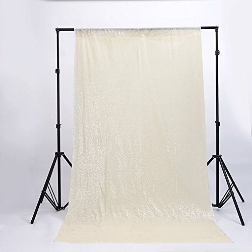 Zdada Ivory 6ftx9ft Homemade Photo Booth Backdrop Sequin Curtain-Seamless ()