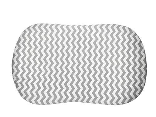 Best Halo Bassinet Mattress Pad - & Sheet Cover Protector, Waterproof Fitted Sheets for Halo Swivel Sleeper, Hypoallergenic, White & Grey Chevron Design for Baby Boy & Girl, Smart Elastic Band Design by Amy Carinn Collection