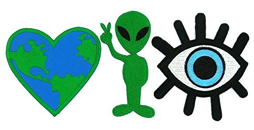 Peace003 Eye eyeball tattoo Iron On Patch, Love Earth Heart Patches and Alien Cartoon Logo Iron On Patch - 3 Pcs of Applique Embroidered Patches]()