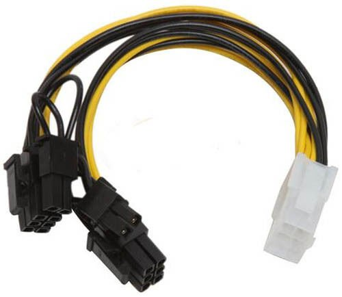 PCI-Express 6 Pin to 2 x 8 Pin (6+2) Video Card Y-Splitter Adapter Power Supply Cable