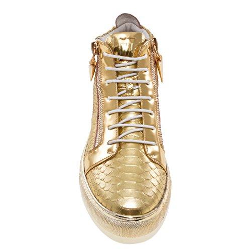 Hoppa J75 För Män Zack Rund Tå Läder Spets-up Mid-top Sneaker Guld Orm