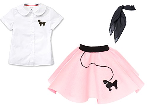 [Toddler 3 Piece Poodle Skirt Costume Set Light Pink 3T] (Sandy Grease Costume Shirt)