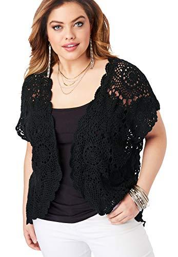 Roamans Women's Plus Size Medallion Crochet Cardigan - Black, -