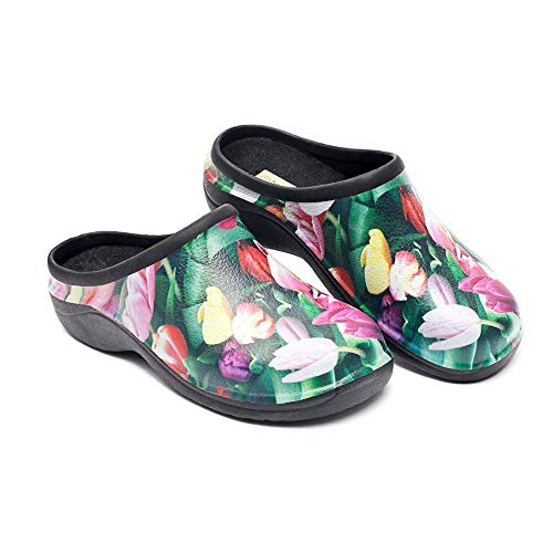 Waterproof Premium Garden Clogs With Arch Support-Tulip Design by Backdoorshoes  Black 9 B(M) US