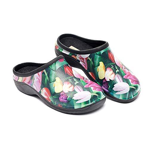 Backdoorshoes Waterproof Premium Garden Clogs with Arch Support-Tulip Design