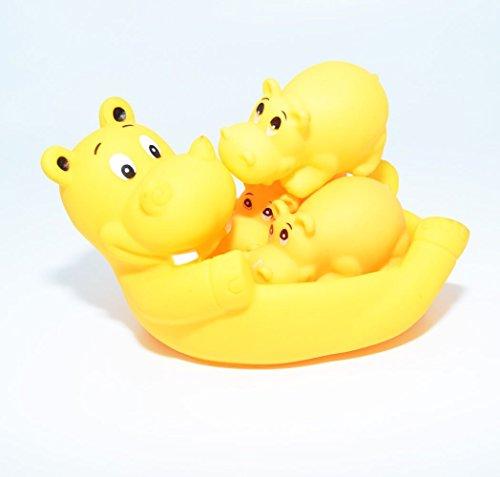 Hippo Bath Set (Gaobei Baby Floating Bath Toys Toddler Bathtub Friends Grey Hippo Family Bath Sets(set of)